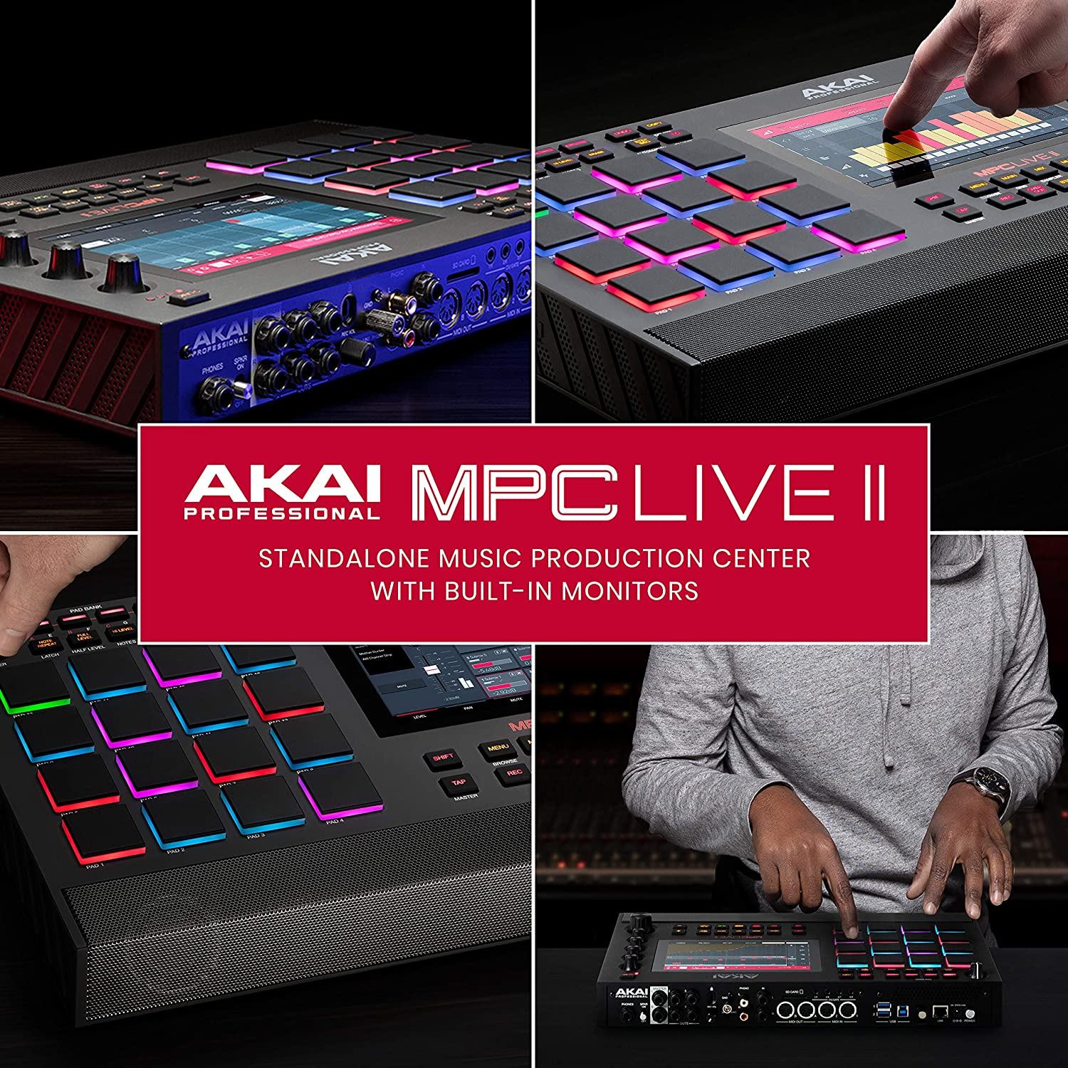 АKAI Professional MPC Live II – Battery Powered Drum Machine and Sampler With Built in Speakers, Beat Pads, Synth Engines and Touch Display