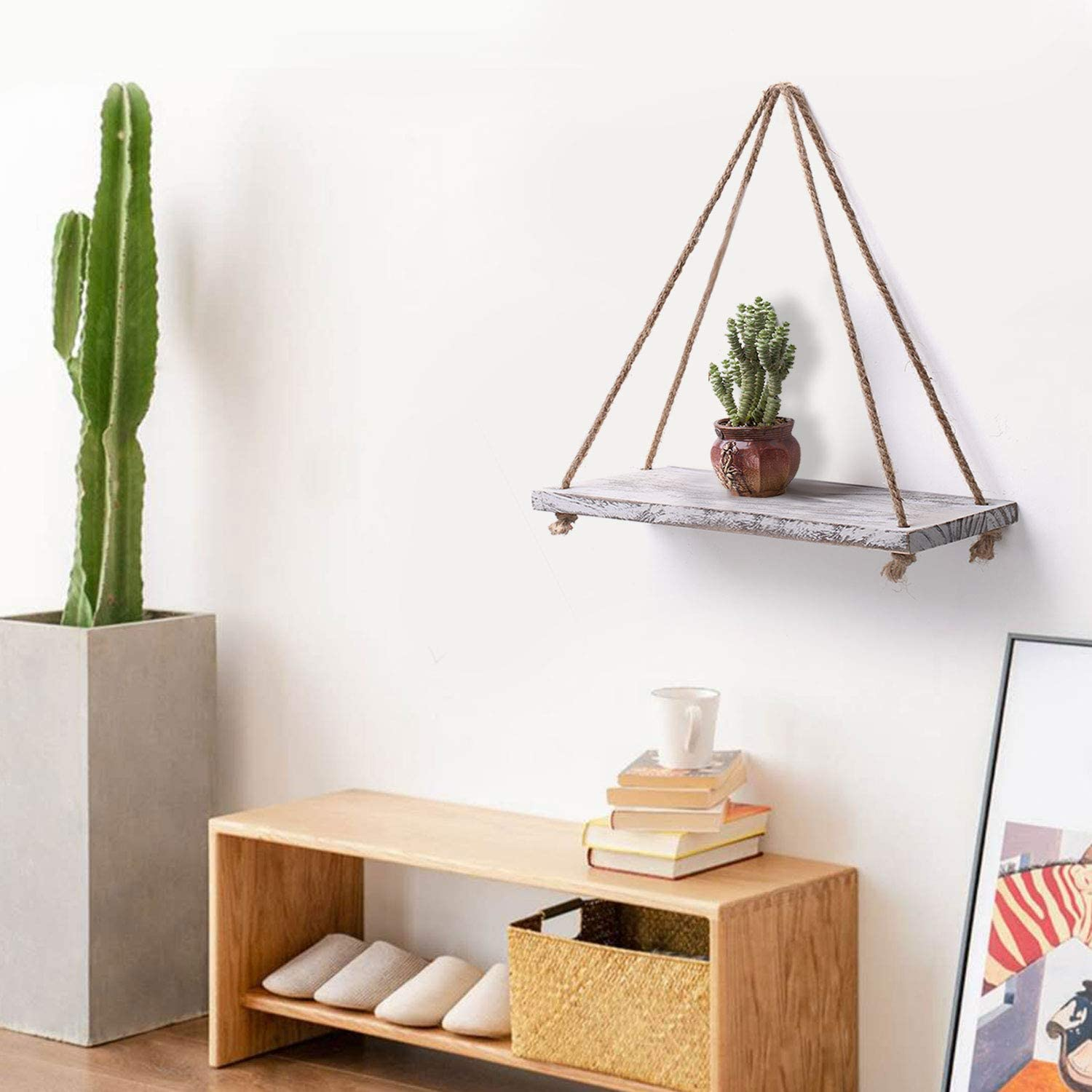 Rope Hanging Wall Shelves