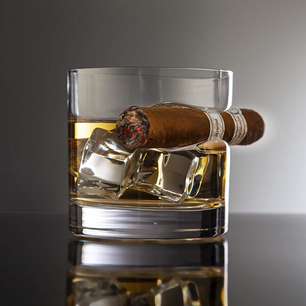 Whiskey Glass with Indented Cigar Rest