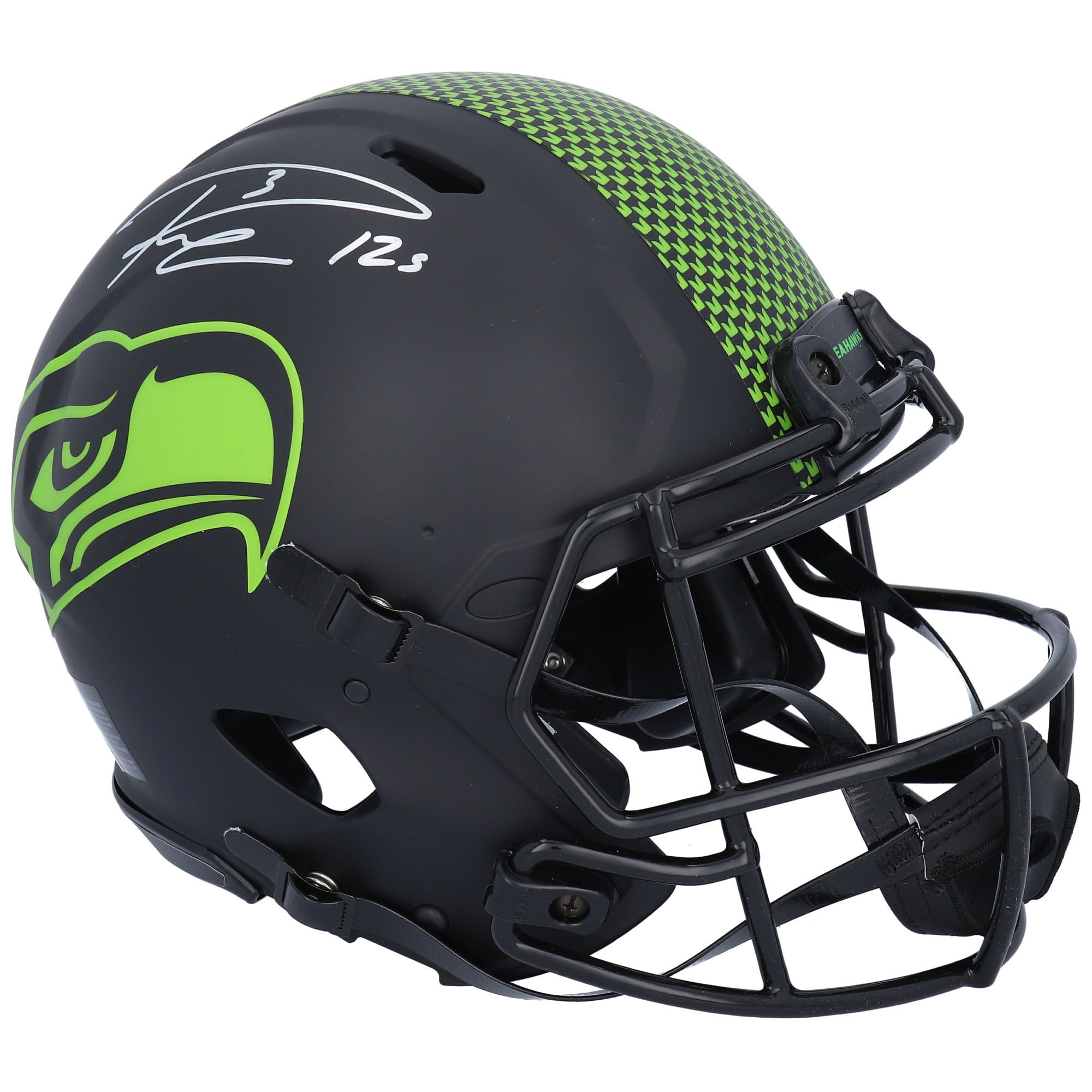 Autographed Seattle Seahawks Russell Wilson Fanatics Authentic Riddell Eclipse Alternate Speed Authentic Helmet