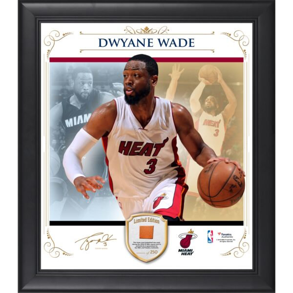 Dwyane Wade Miami Heat Framed 15'' x 17'' Photo Collage with Team Used Basketball- Limited Edition of 250