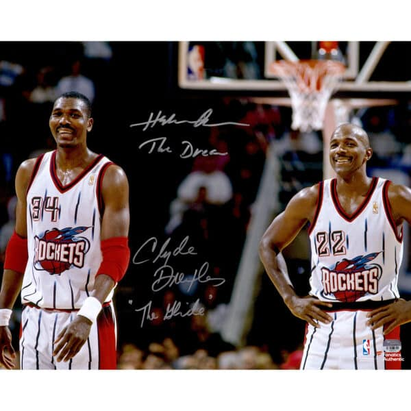 """Hakeem Olajuwon, Clyde Drexler Houston Rockets Autographed 16"""" x 20"""" Photograph with The Dream and The Glide Inscriptions"""