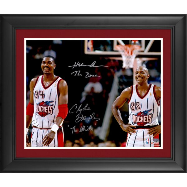 """Hakeem Olajuwon, Clyde Drexler Houston Rockets Framed Autographed 16"""" x 20"""" Photograph with The Dream and The Glide Inscriptions"""
