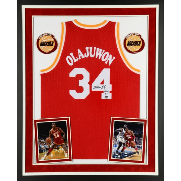Hakeem Olajuwon Houston Rockets Deluxe Framed Autographed Red Swingman Jersey with The Dream and HOF 08 Inscriptions