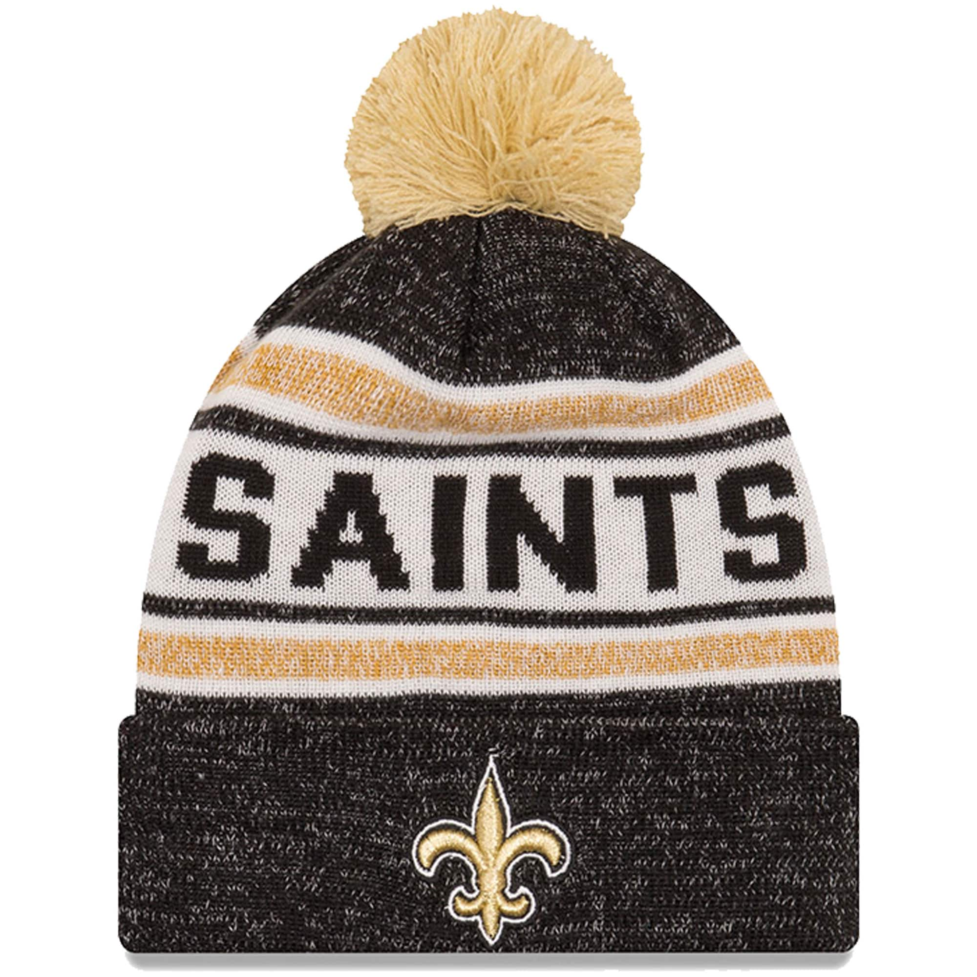 Men's New Orleans Saints New Era Black Toasty Cover Cuffed Knit Hat with Pom