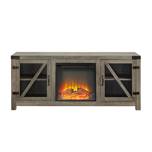 """Walker Edison - Rustic Farmhouse Fireplace TV Stand for Most Flat-Panel TV's up to 65"""" - Grey Wash"""