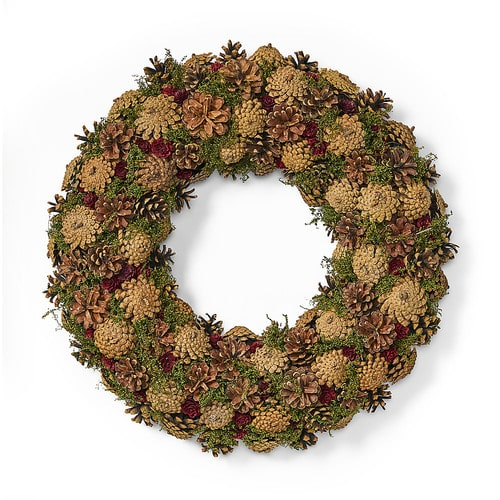 """Noble House - 18.5"""" Pine Cone Unlit Artificial Christmas Wreath, Natural - Natural, Green"""