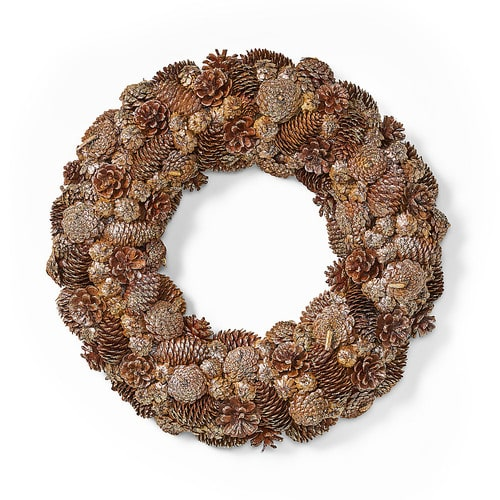 """Noble House - 18.5"""" Pine Cone and Glitter Unlit Artificial Christmas Wreath, Champagne - Champagne"""