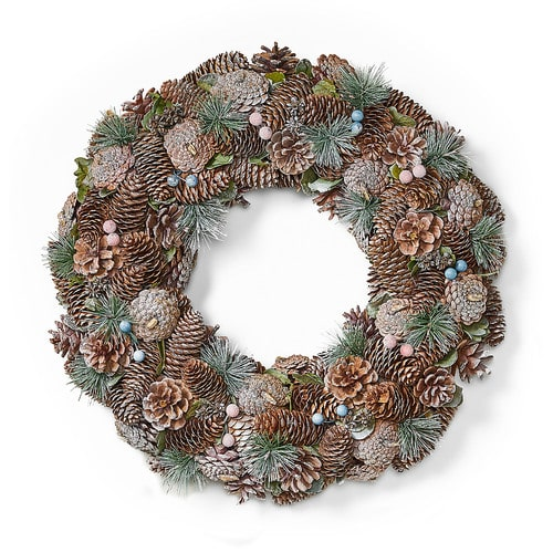 """Noble House - 18.5"""" Pine Cone and Glitter Unlit Artificial Christmas Wreath, Natural and White - Natural, White"""