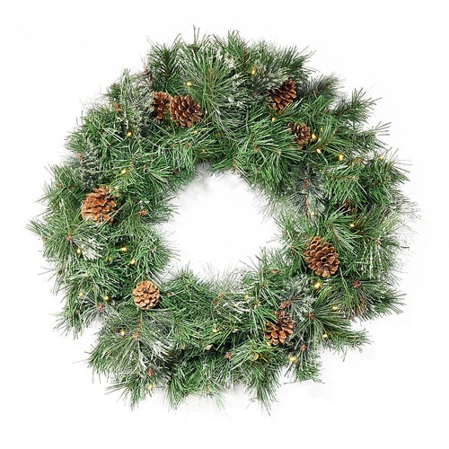 """Noble House - 24"""" Cashmere Pine and Mixed Needles Warm White LED Artificial Christmas Wreath with Snowy Branches and Pinecones - Green"""