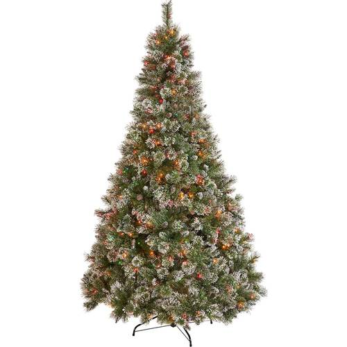 Noble House - 4.5' Cashmere Mixed Needles Pre-Lit Hinged Artificial Christmas Tree with Snow & Glitter Branches and Frosted Pine Cones - Green + Multi Lights