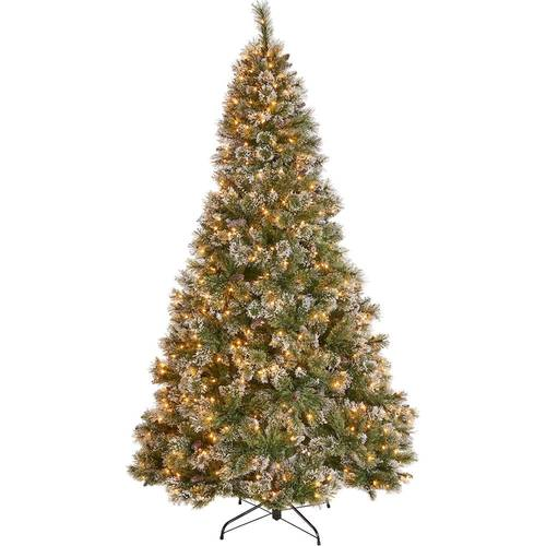 Noble House - 4.5' Cashmere Mixed Needles Pre-Lit Hinged Artificial Christmas Tree with Snow & Glitter Branches with Frosted Pinecones - Green + Clear Lights