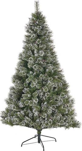 Noble House - 4.5' Cashmere Pine & Mixed Needles Unlit Hinged Artificial Christmas Tree with Snow & Glitter Branches - Green