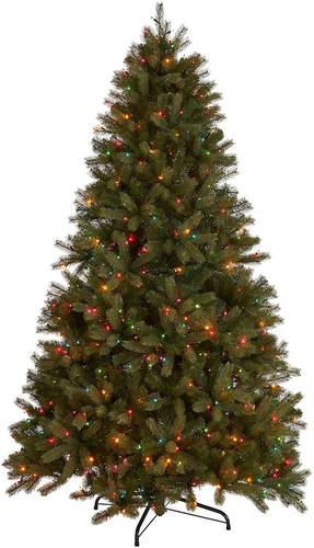 Noble House - 4.5' Mixed Spruce Pre-Lit Artificial Christmas Tree - Green + Multi Lights