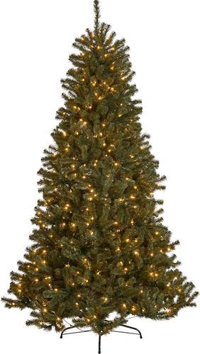 Noble House - 4.5' Noble Fir Pre-Lit Hinged Artificial Christmas Tree - Green + Clear Lights