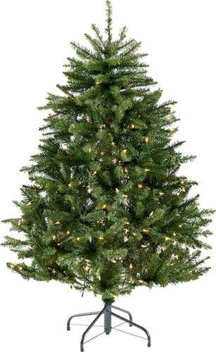 Noble House - 4.5' Norway Spruce Pre-Lit Hinged Artificial Christmas Tree - Green + Clear Lights