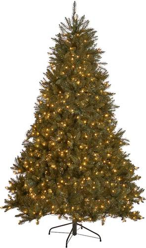 Noble House - 7' Fraser Fir Pre-Lit Hinged Artificial Christmas Tree - Green + Clear Lights