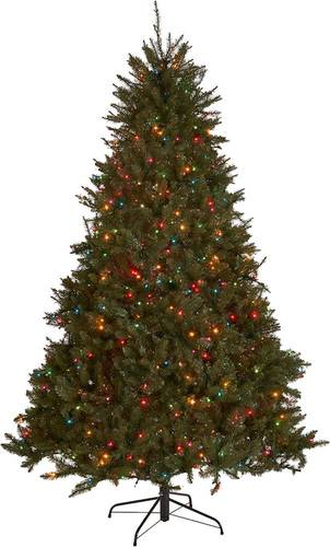 Noble House - 7' Fraser Fir Pre-Lit Hinged Artificial Christmas Tree - Green + Multi Lights