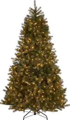 Noble House - 7' Mixed Spruce Pre-Lit Artificial Christmas Tree - Green + Clear Lights