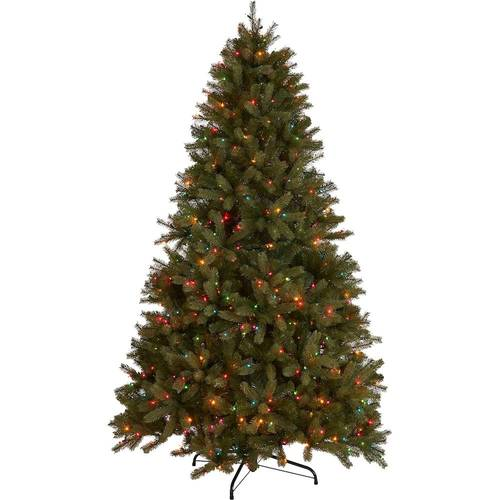 Noble House - 7' Mixed Spruce Pre-Lit Artificial Christmas Tree - Green + Multi Lights