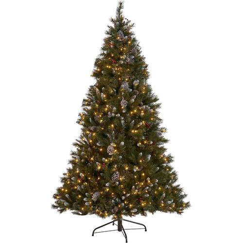 Noble House - 7' Mixed Spruce Pre-Lit Hinged Artificial Christmas Tree with Frosted Branches, Red Berries and Frosted Pine Cones - Green + Clear Lights