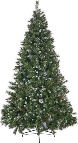 Noble House - 7' Mixed Spruce Unlit Hinged Artificial Christmas Tree with Frosted Branches, Red Berries and Frosted Pinecones - Green