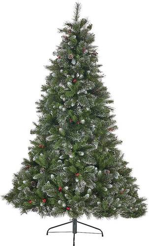 Noble House - 7' Mixed Spruce Unlit Hinged Artificial Christmas Tree with Glitter Branches, Red Berries and Pinecones - Green