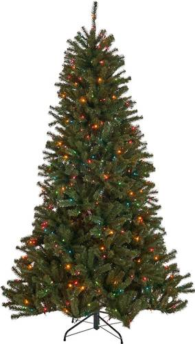 Noble House - 7' Noble Fir Pre-Lit Hinged Artificial Christmas Tree - Green + Multi Lights