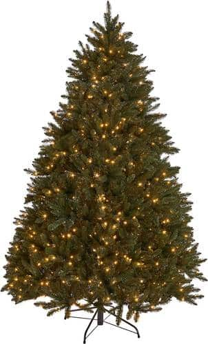Noble House - 7' Norway Spruce Pre-Lit Hinged Artificial Christmas Tree - Green + Clear Lights