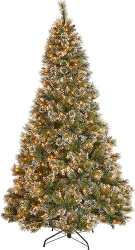 Noble House - 7.5' Cashmere Mixed Needles Pre-Lit Hinged Artificial Christmas Tree with Snow & Glitter Branches with Frosted Pinecones - Green + Clear Lights