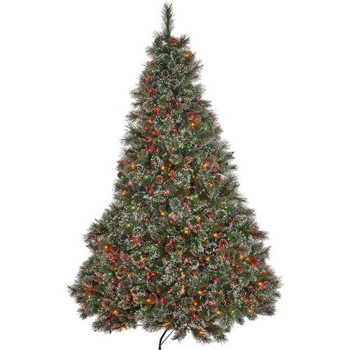 Noble House - 7.5' Cashmere Pine and Mixed Spruce Pre-Lit Artificial Christmas Tree with Snowy Branches and Pine Cones - Green + Multi Lights
