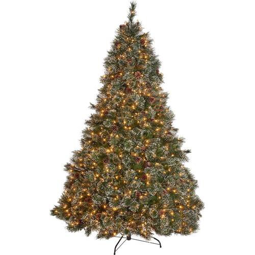 Noble House - 7.5' Cashmere Pine and Mixed Spruce Pre-Lit Artificial Christmas Tree with Snowy Branches and Pinecones - Green And Clear Lights