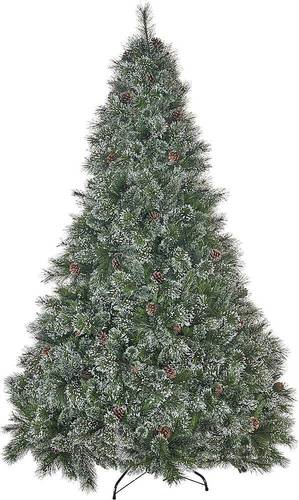 Noble House - 7.5' Cashmere Pine and Mixed Spruce Unlit Artificial Christmas Tree with Snowy Branches and Pinecones - Green