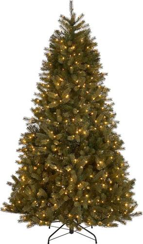 Noble House - 7.5' Mixed Spruce Pre-Lit Artificial Christmas Tree - Green + Clear Lights