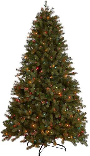 Noble House - 7.5' Mixed Spruce Pre-Lit Artificial Christmas Tree - Green + Multi Lights