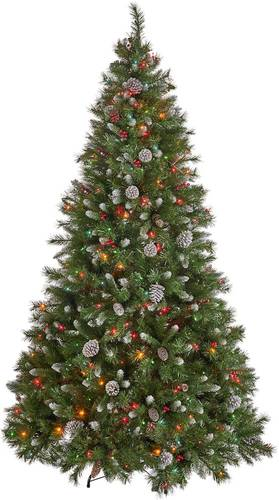 Noble House - 7.5' Mixed Spruce Pre-Lit Hinged Artificial Christmas Tree with Frosted Branches, Red Berries, and Frosted Pinecones - Green + Multi Lights