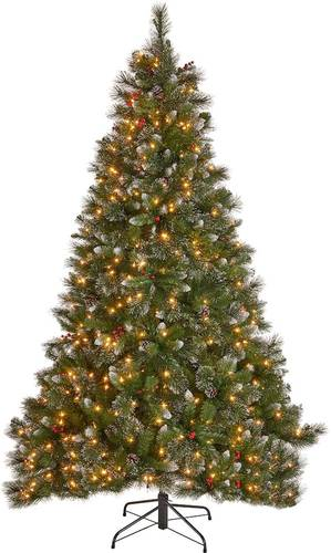 Noble House - 7.5' Mixed Spruce Pre-Lit Hinged Artificial Christmas Tree with Glitter Branches, Red Berries, and Pinecones - Green + Clear Lights
