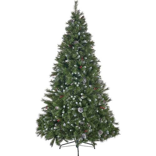 Noble House - 7.5' Mixed Spruce Unlit Hinged Artificial Christmas Tree with Frosted Branches, Red Berries, and Frosted Pinecones - Green