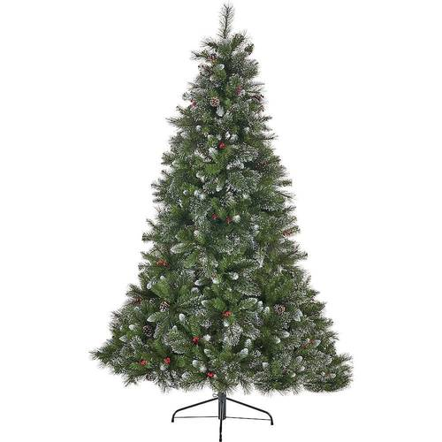 Noble House - 7.5' Mixed Spruce Unlit Hinged Artificial Christmas Tree with Glitter Branches, Red Berries and Pinecones - Green