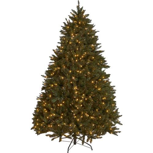 Noble House - 7.5' Norway Spruce Pre-Lit Hinged Artificial Christmas Tree - Green + Clear Lights