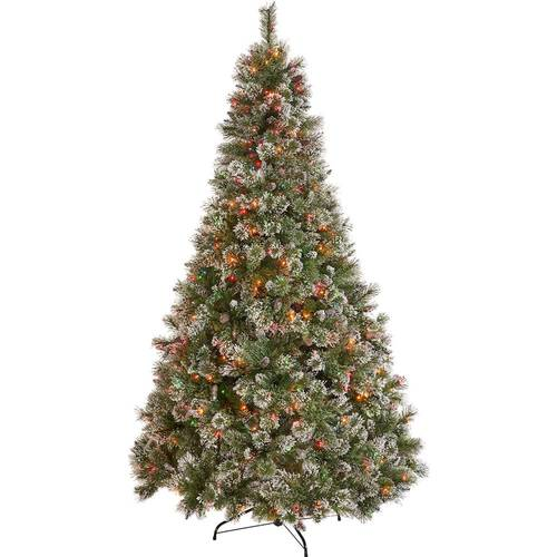 Noble House - 9' Cashmere Pine & Mixed Needles Multicolor Hinged Artificial Christmas Tree with Snow & Glitter Branches - Green + Multi Lights