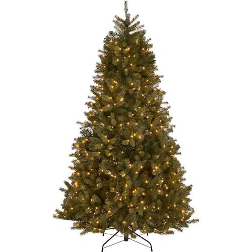 Noble House - 9' Mixed Spruce Pre-Lit Artificial Christmas Tree - Green + Clear Lights
