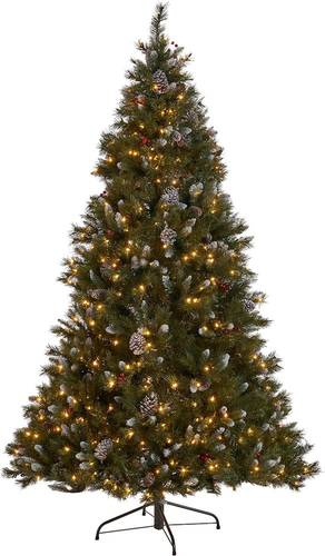 Noble House - 9' Mixed Spruce Pre-Lit Hinged Artificial Christmas Tree with Frosted Branches, Red Berries and Frosted Pinecones - Green + Clear Lights