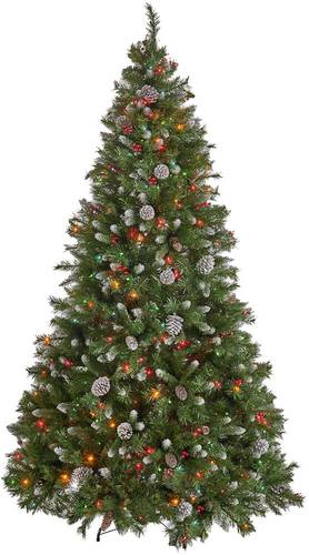 Noble House - 9' Mixed Spruce Pre-Lit Hinged Artificial Christmas Tree with Frosted Branches, Red Berries, and Frosted Pinecones - Green + Multi Lights