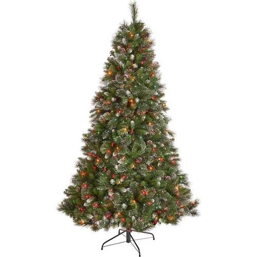 Noble House - 9' Mixed Spruce Pre-Lit Hinged Artificial Christmas Tree with Glitter Branches, Red Berries and Pinecones - Green + Multi Lights