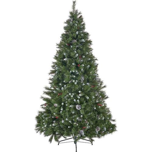 Noble House - 9' Mixed Spruce Unlit Hinged Artificial Christmas Tree with Frosted Branches, Red Berries, and Frosted Pinecones - Green