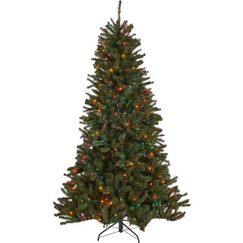 Noble House - 9' Noble Fir Pre-Lit Hinged Artificial Christmas Tree - Green + Multi Lights