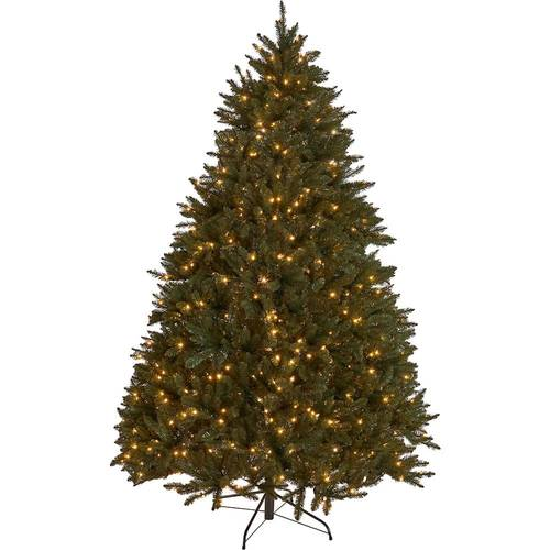 Noble House - 9' Norway Spruce Pre-Lit Hinged Artificial Christmas Tree - Green + Clear Lights
