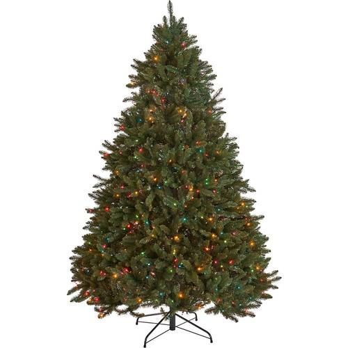 Noble House - 9' Norway Spruce Pre-Lit Hinged Artificial Christmas Tree - Green + Multi Lights