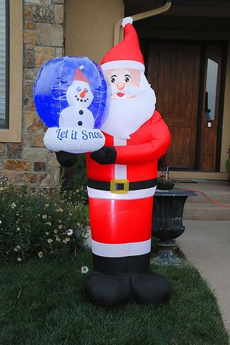 Novelty Lights - 7' Inflatable Swirling Lights Santa with snow globe - Red